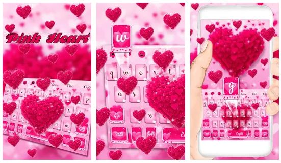 Pink Love Heart Keyboard Theme for android